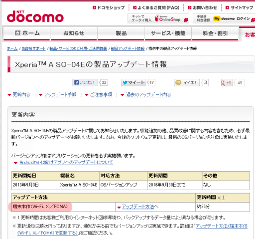 Xperia(TM) A SO-04Eの製品アップデート情報 | お客様サポート | NTTドコモ